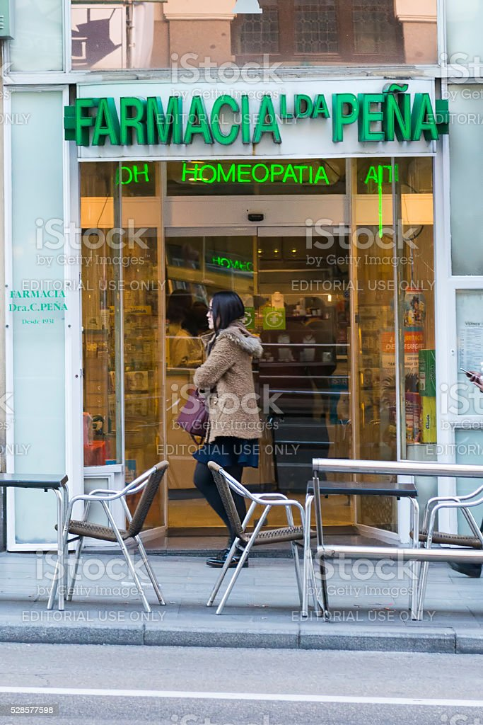 Pharmacy with homeopathic in Madrid. stock photo