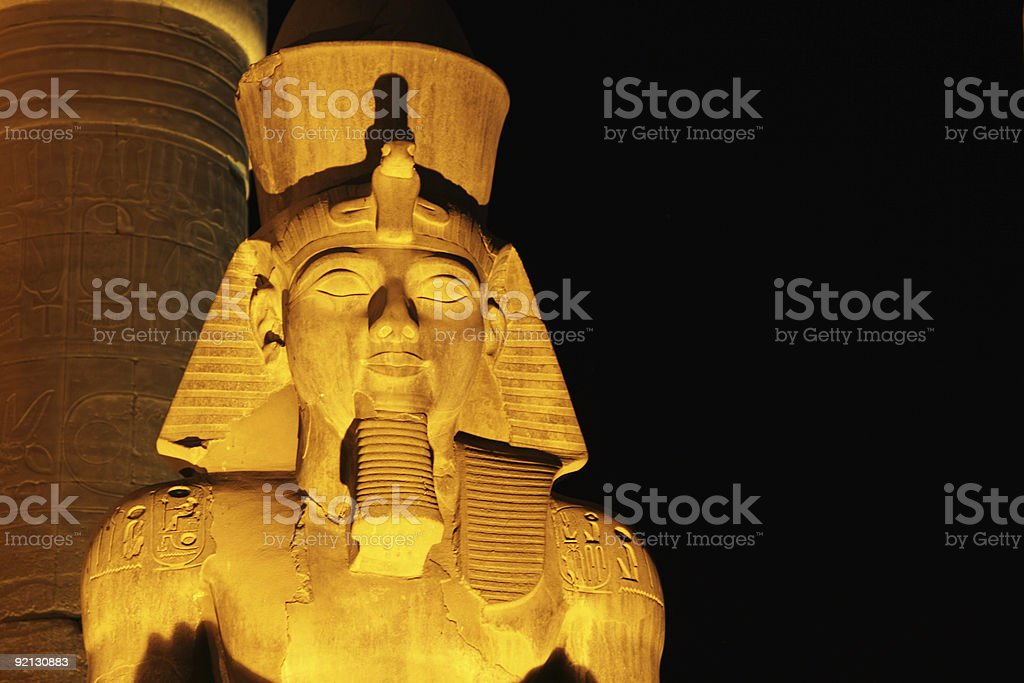 Pharoh statue lit up at night royalty-free stock photo