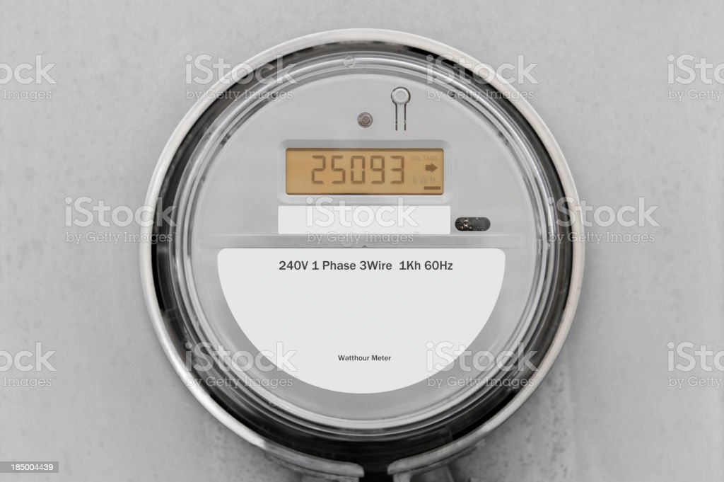 240V 1 Phase 3 wire 1Kh 60Hz gray digital smart meter stock photo