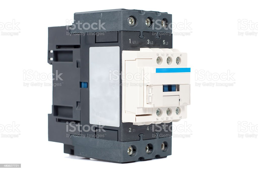 3 phase contactor on white background stock photo