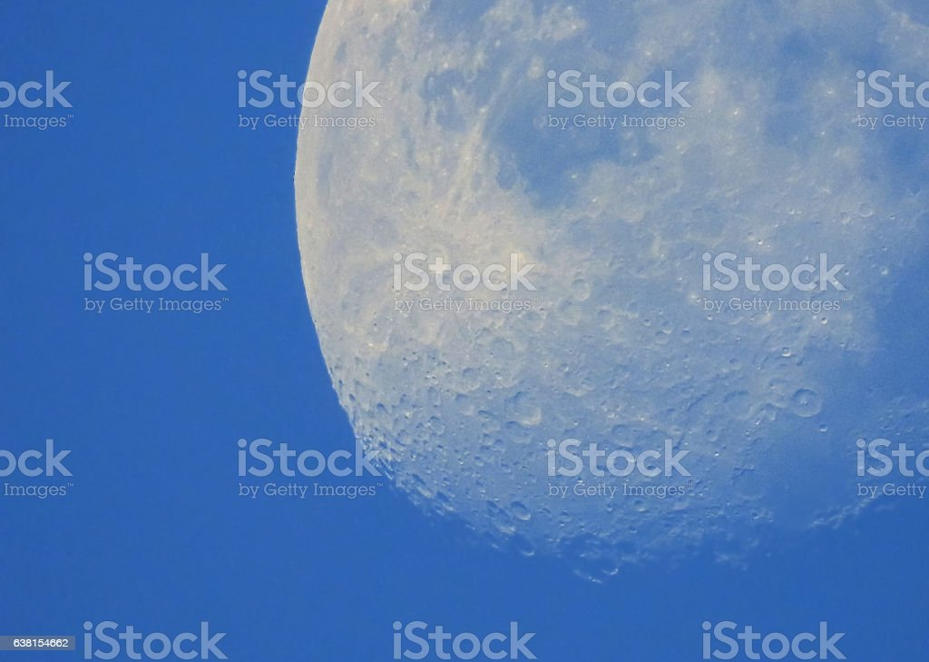 Phase of the moon in daytime. stock photo