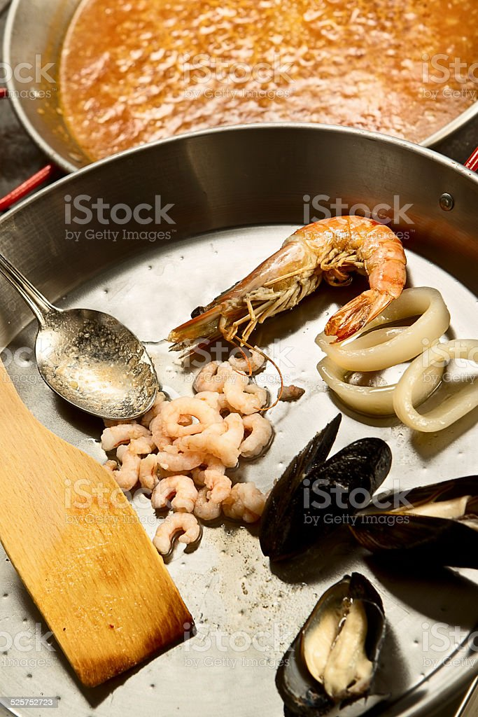 Phased cooking paella stock photo