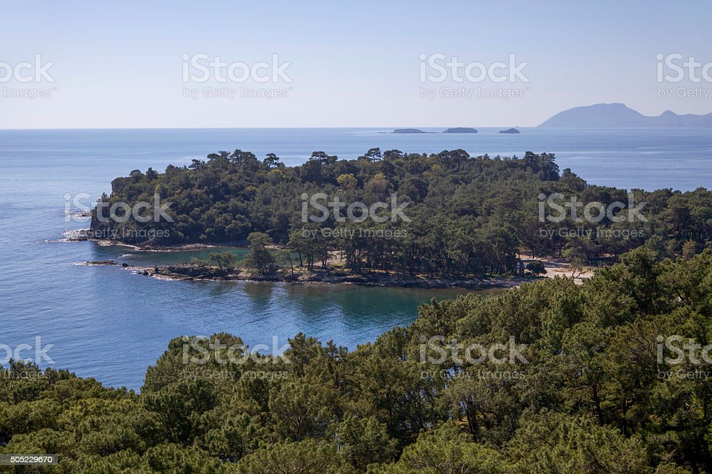 Phaselis ancient view stock photo