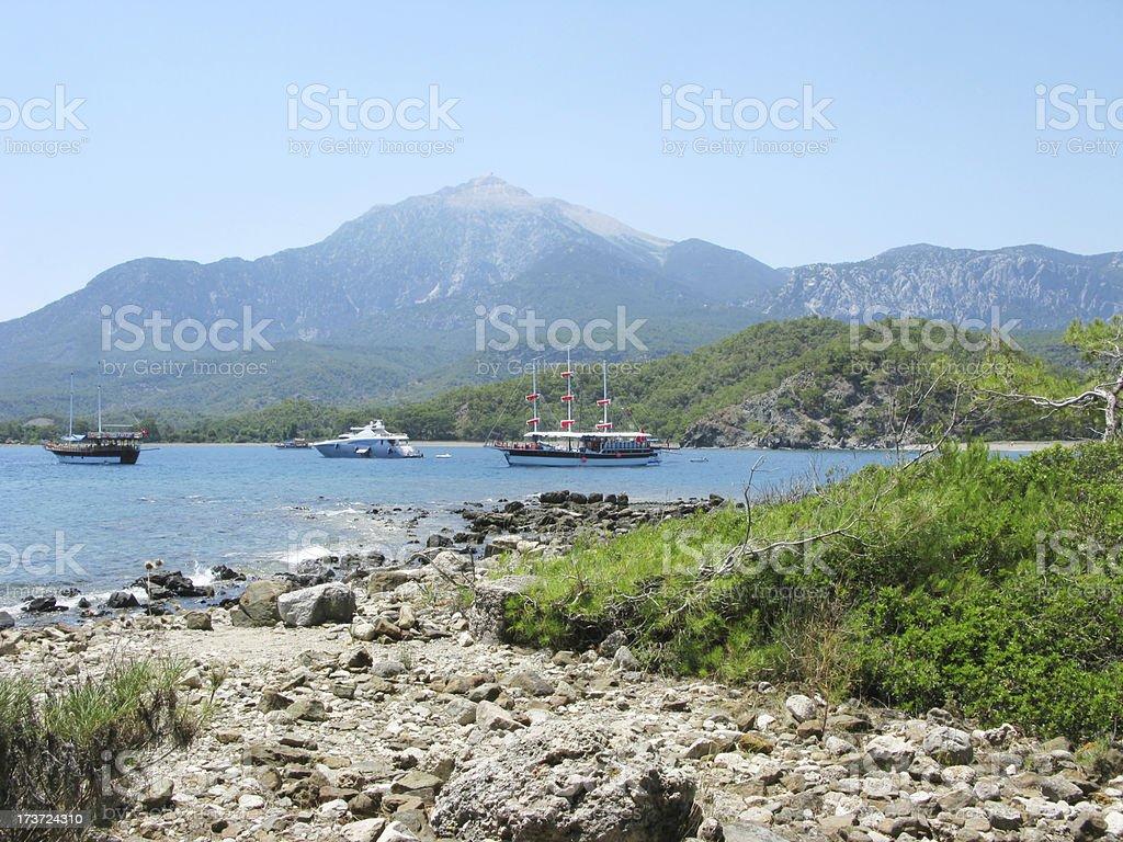 phaselis bay with yachts kemer turkey stock photo