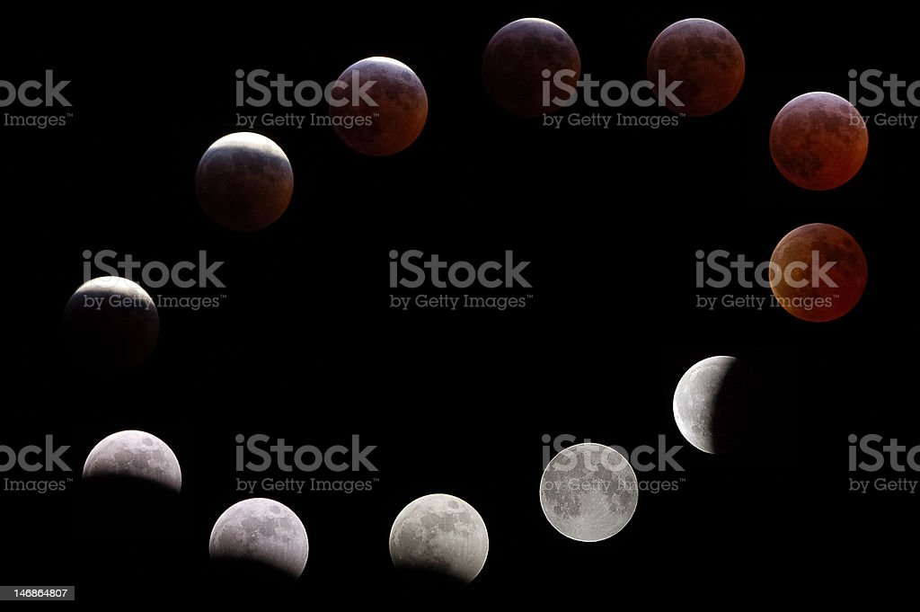 Phases of a Lunar (Moon) Total Eclipse royalty-free stock photo