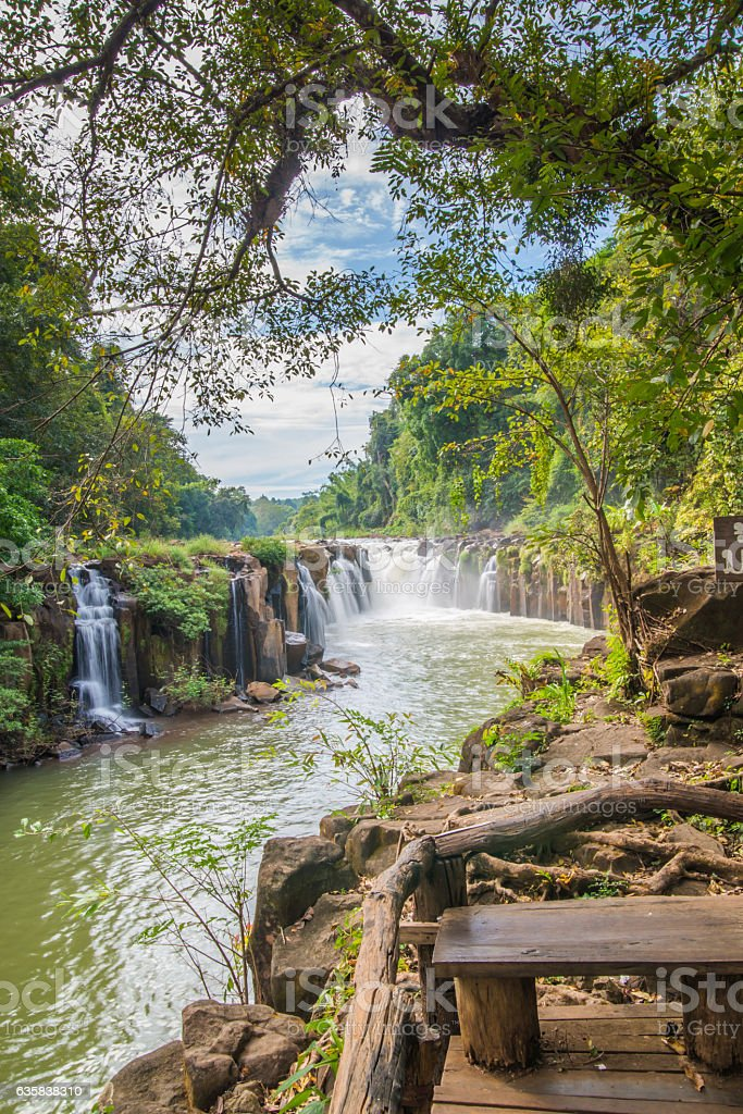 Phasom Waterfall (Tad) in tropical country, Laos stock photo