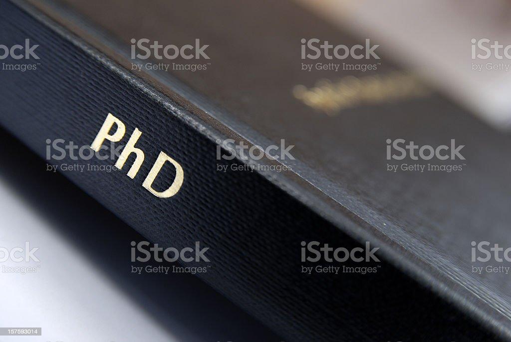 Phd thesis hardbound cover macro stock photo