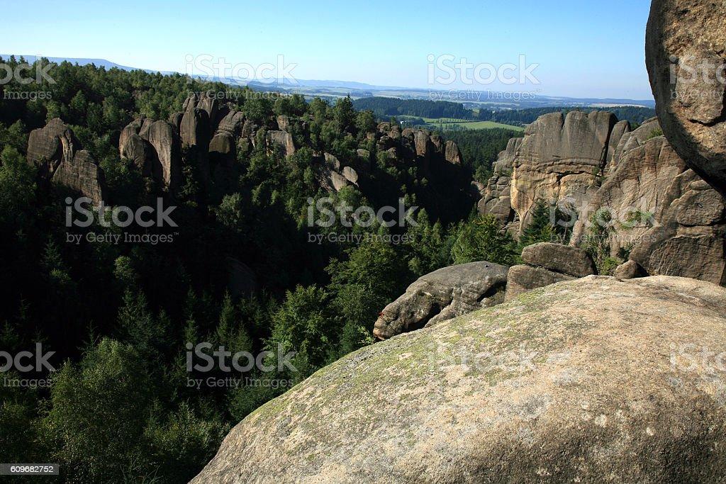 Phenomenon of nature, Stolowe ( Table ) Mountains. stock photo