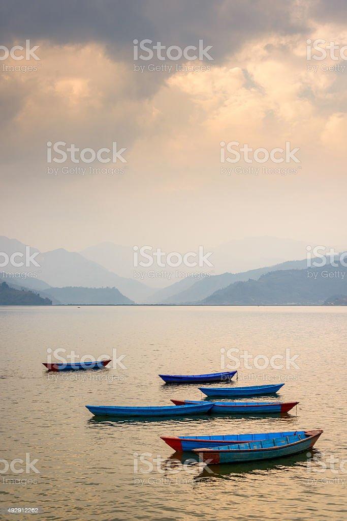 Phewa Lake in Pokhara, Nepal stock photo