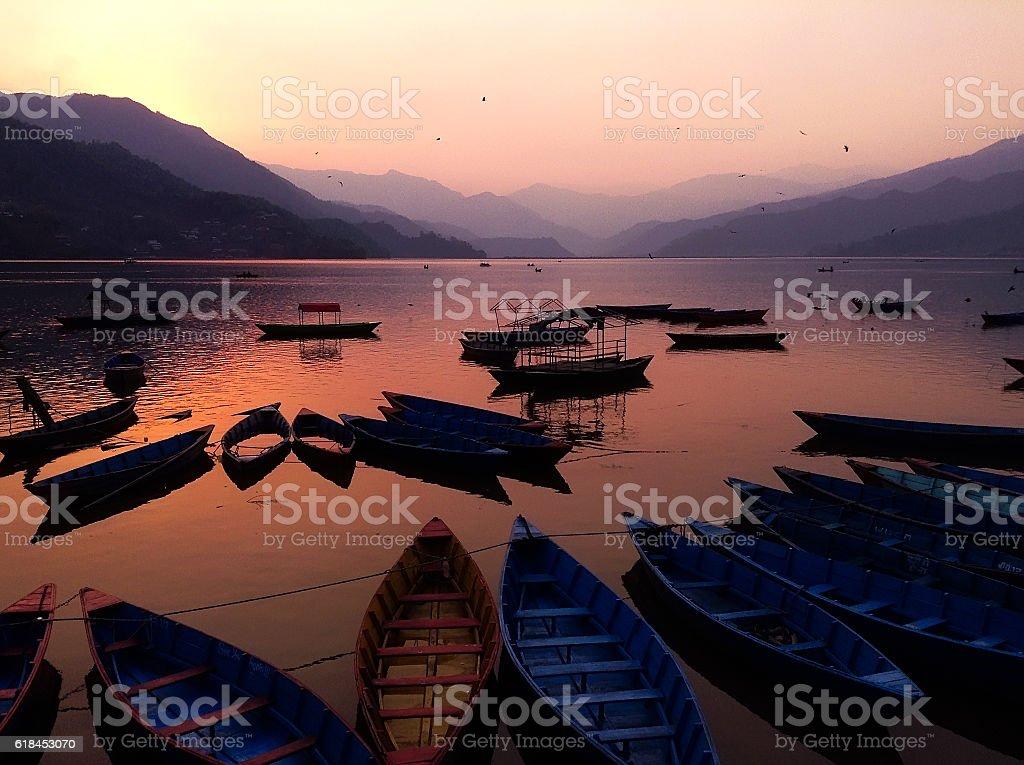Phewa lake stock photo