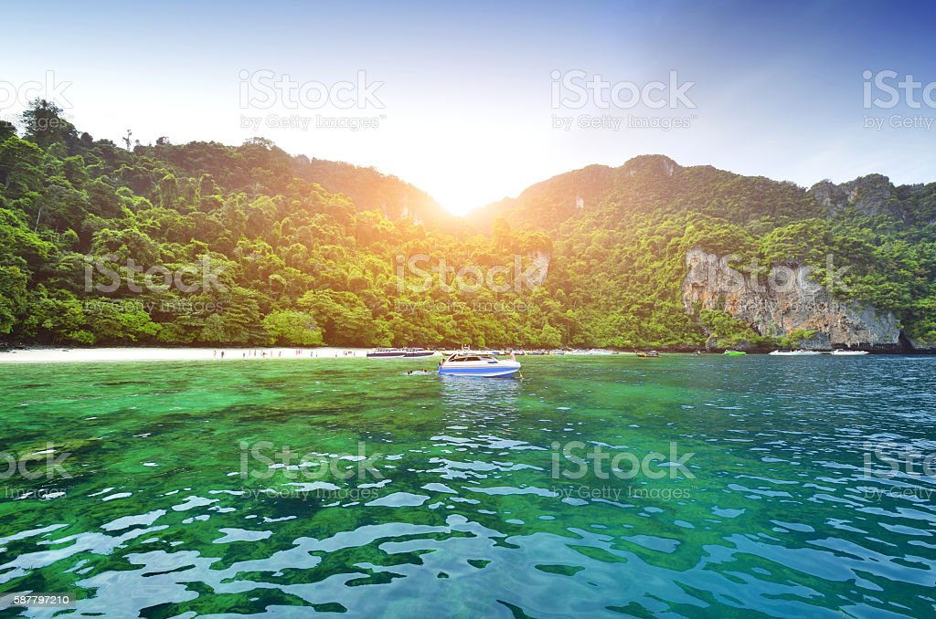 Phi Phi Islands and Beach, Thailand stock photo