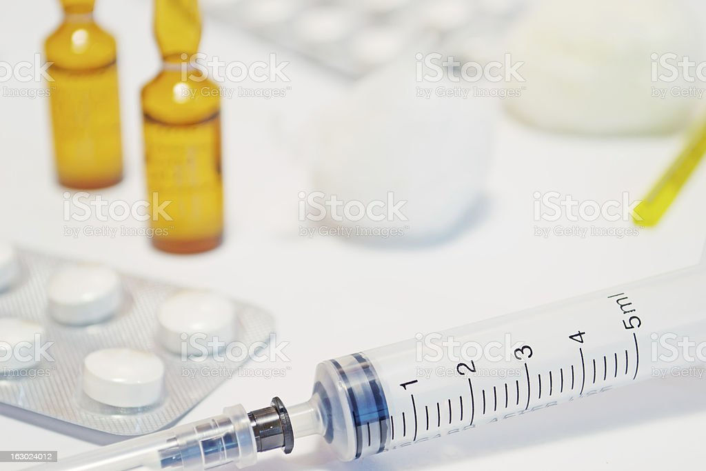 phials, syringe and cotton royalty-free stock photo