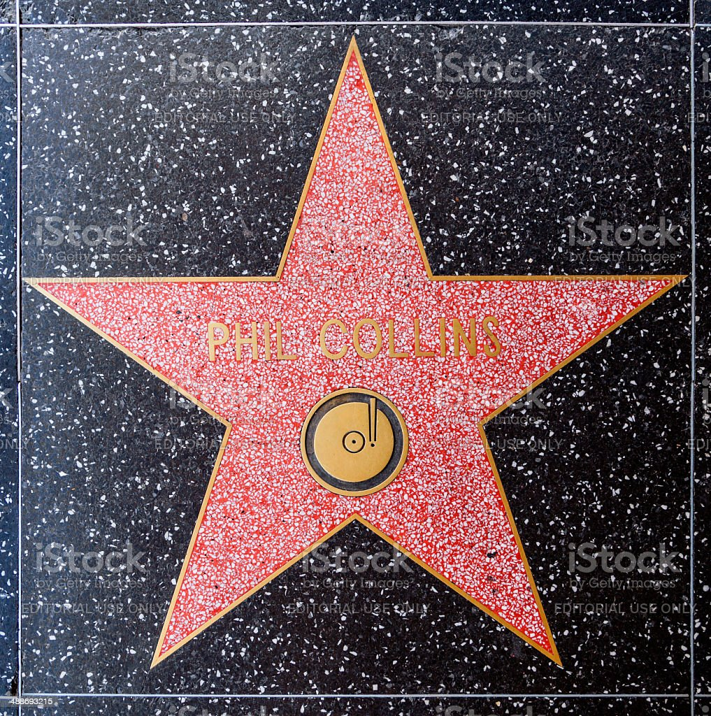 Phil Collins star on Hollywood Walk of Fame stock photo