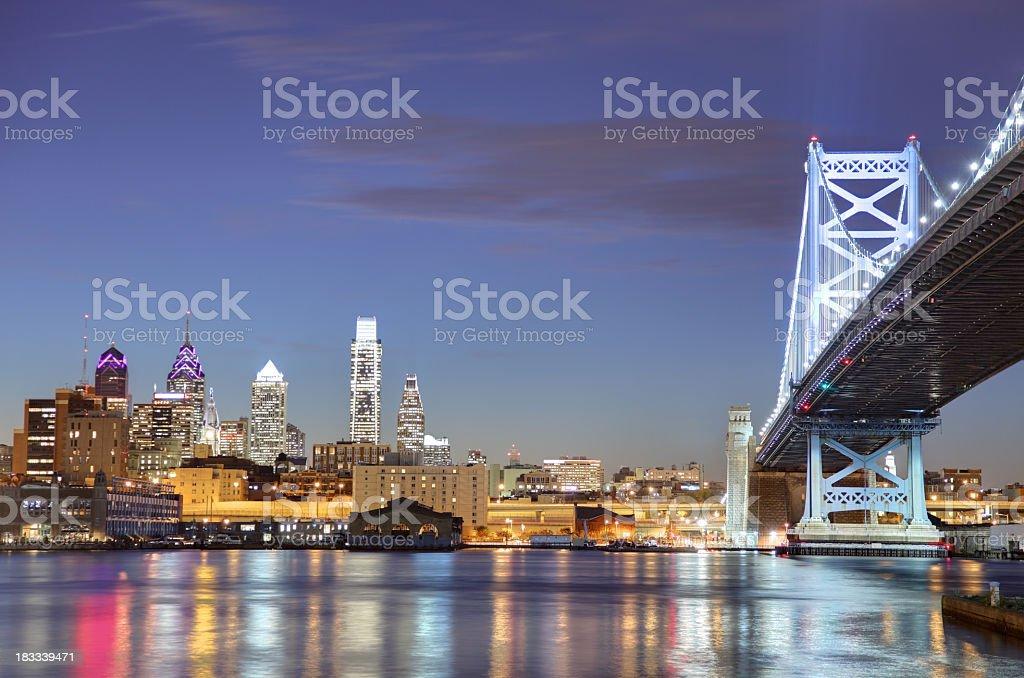Philadelphia and the Ben Franklin Bridge stock photo