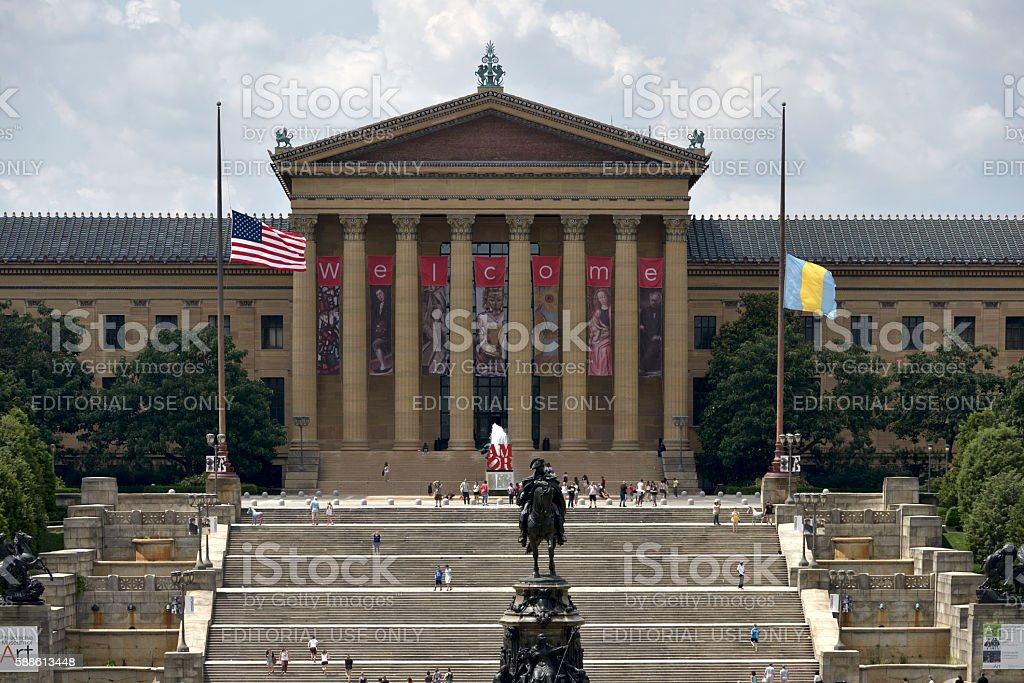 Philadelphia Art Museum and Rocky Steps stock photo