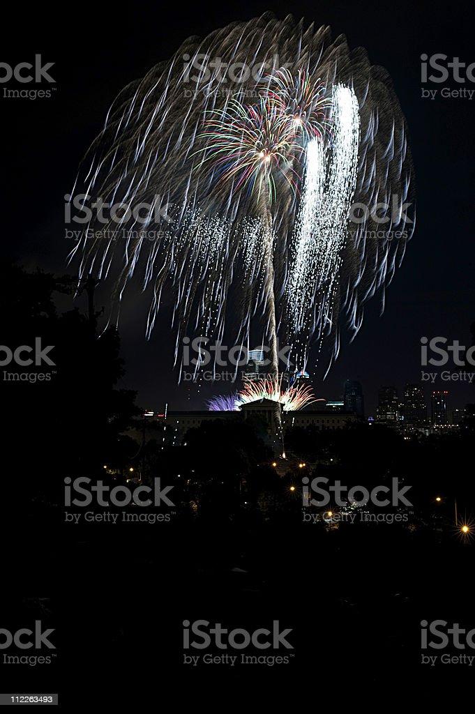 Philadelphia art museum fireworks stock photo