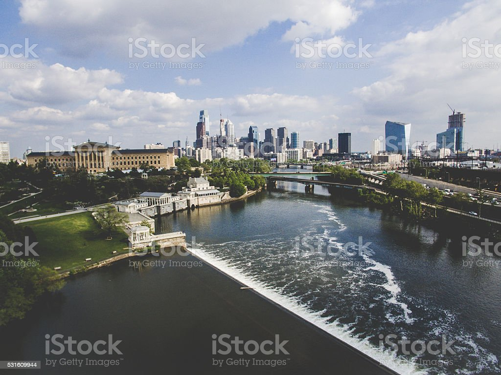 Philadelphia Art Museum. Schuylkill river and skyline view stock photo