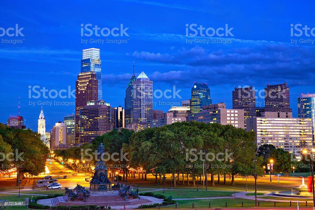 Philadelphia at dusk stock photo