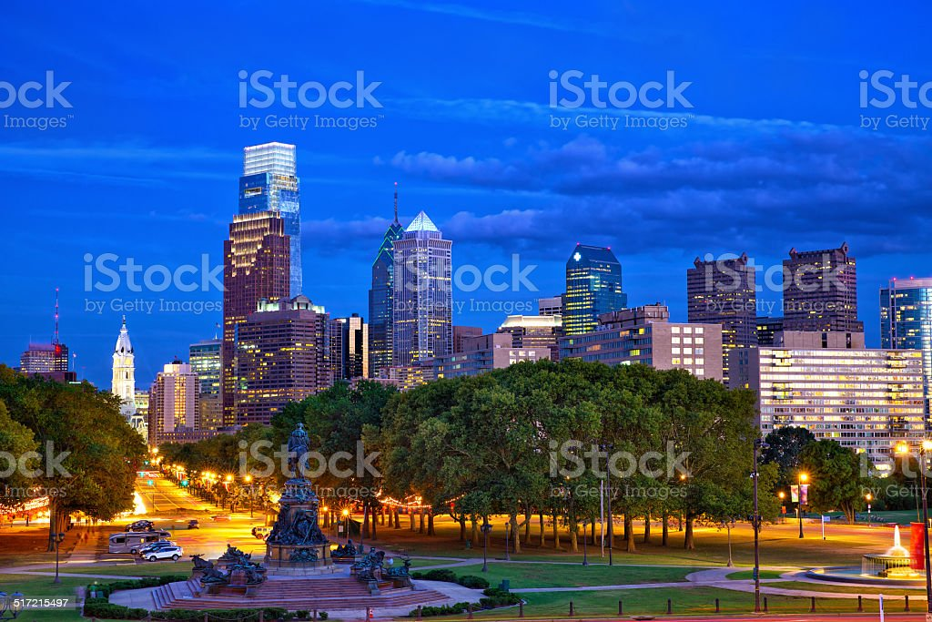 Philadelphia at dusk stock photo