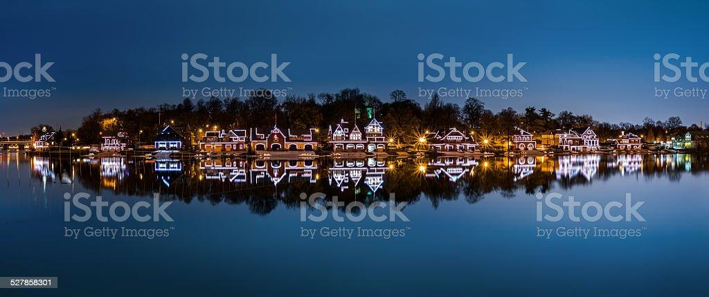 Philadelphia - Boathouse Row panorama by night stock photo