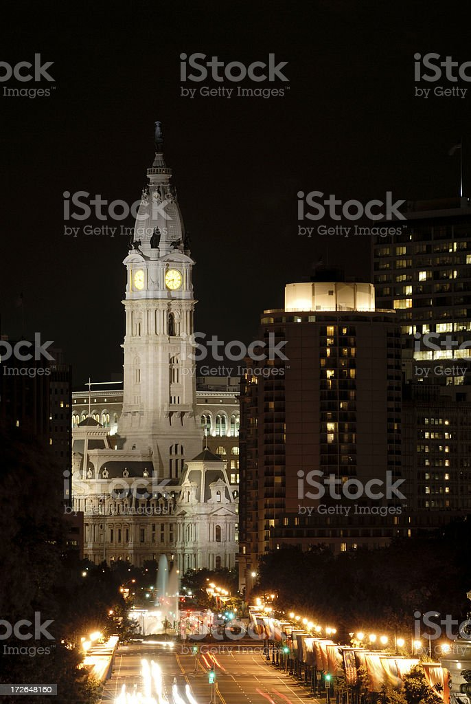Philadelphia City Hall at Night stock photo