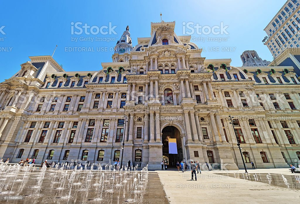 Philadelphia City Hall with a fountain on Penn Square stock photo