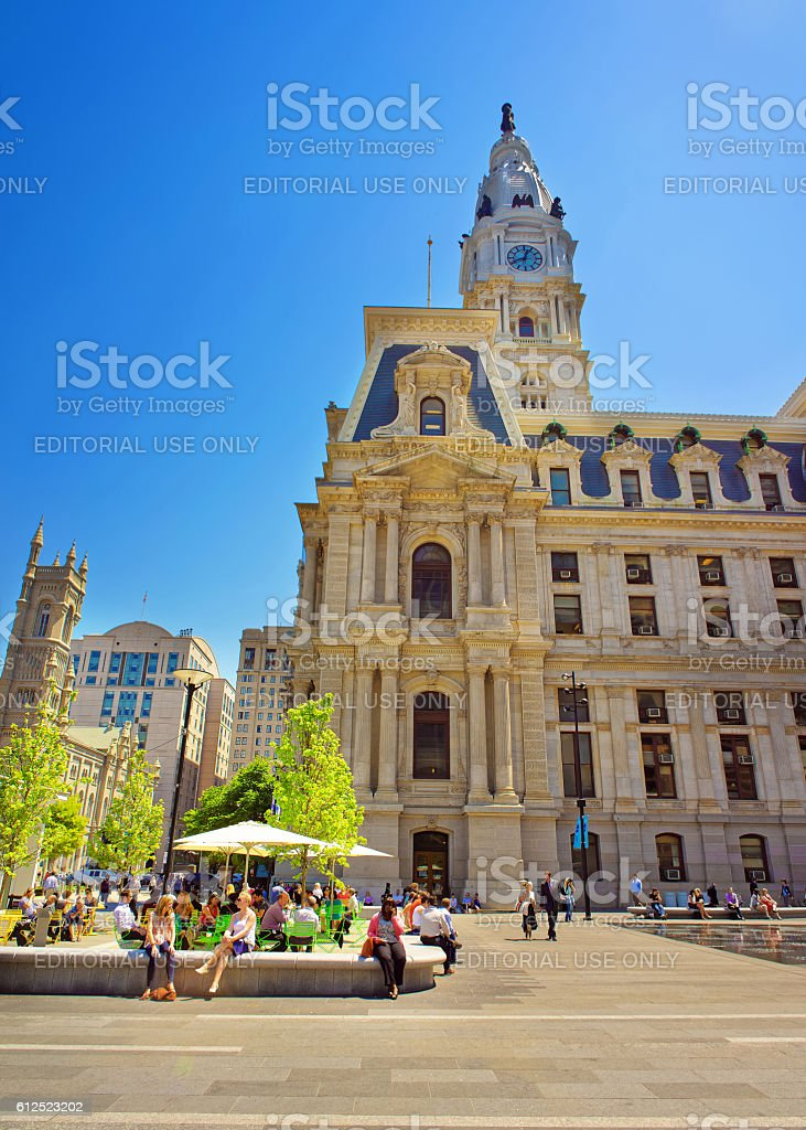 Philadelphia City Hall with lots of tourists on Penn Square stock photo