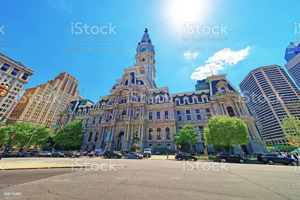Philadelphia City Hall with William Penn figure atop Tower stock photo