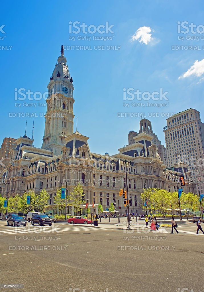 Philadelphia City Hall with William Penn figure on the Tower stock photo