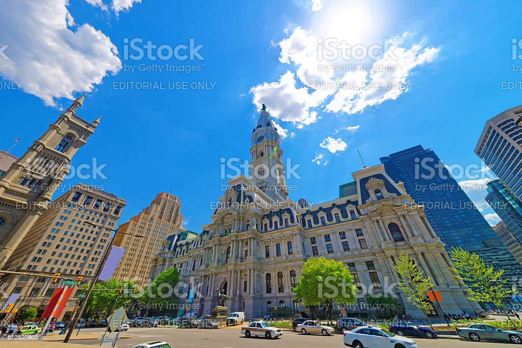 Philadelphia City Hall with William Penn figure on Tower stock photo