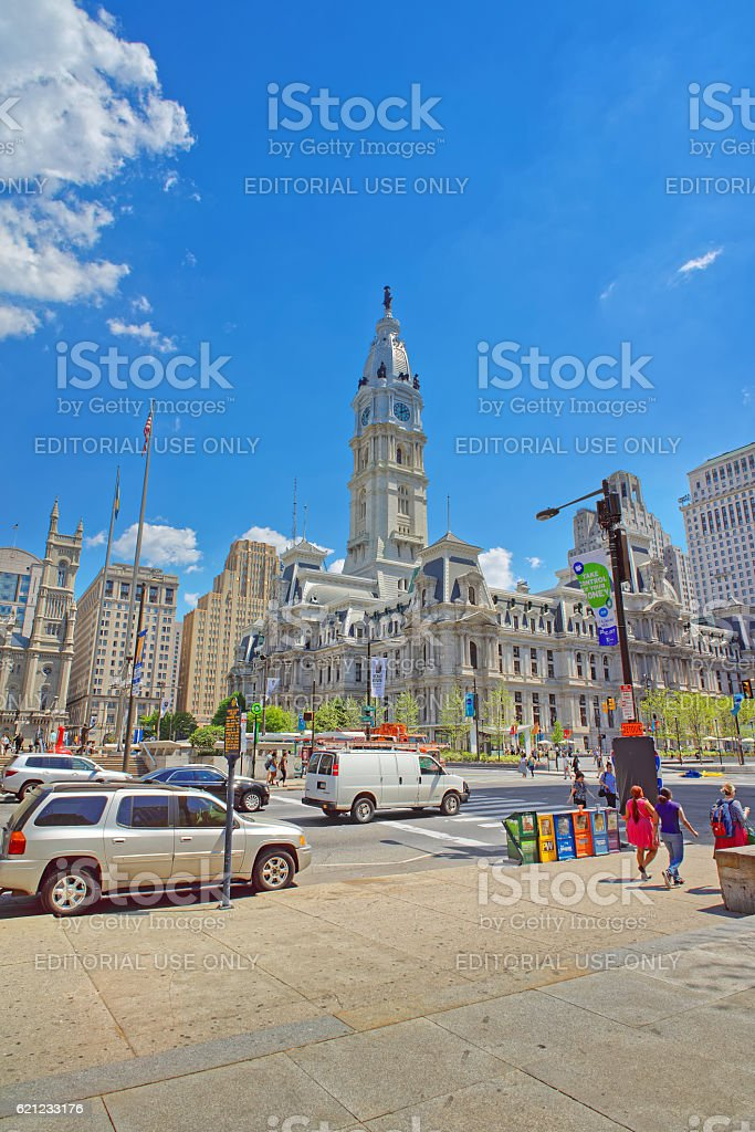 Philadelphia City Hall with William Penn sculpture on the Tower stock photo