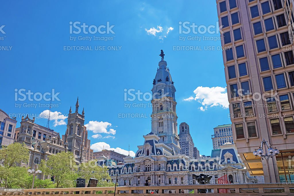 Philadelphia City Hall with William Penn sculpture on Tower stock photo