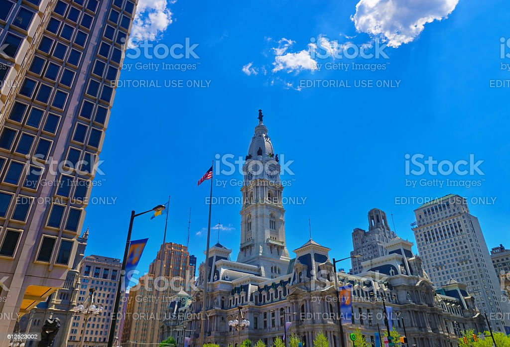 Philadelphia City Hall with William Penn statue atop the Tower stock photo