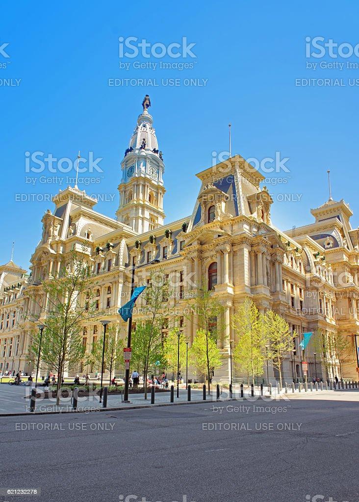 Philadelphia City Hall with William Penn statue atop Tower stock photo