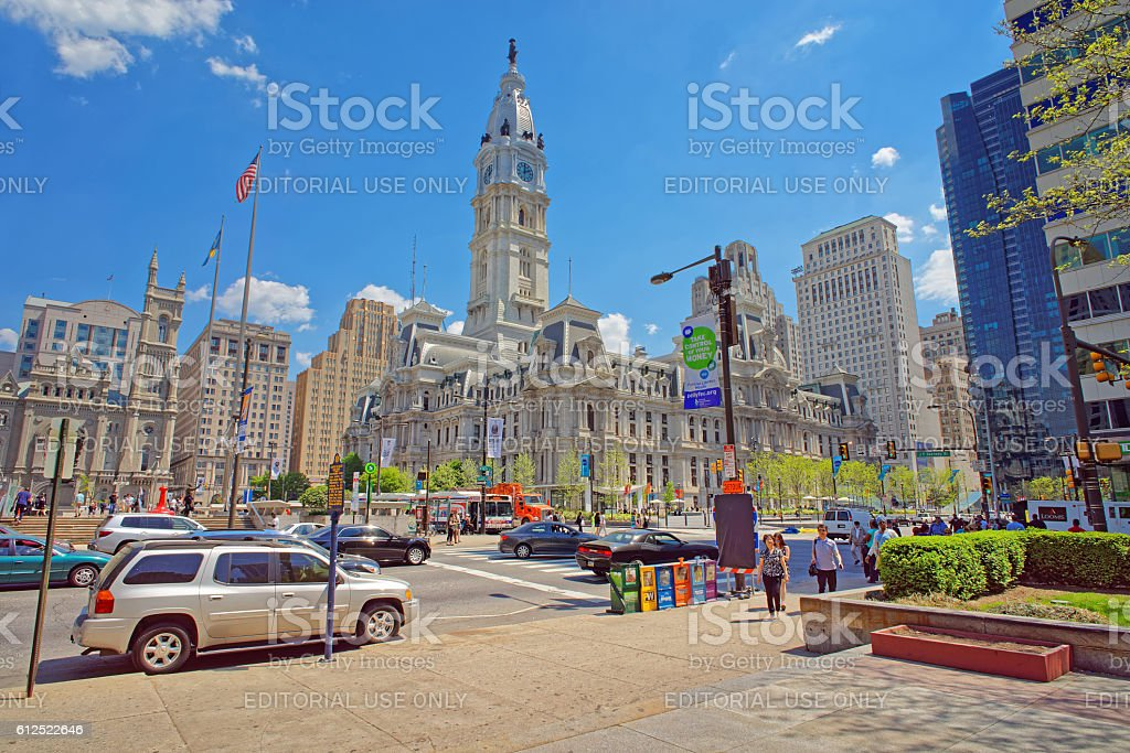 Philadelphia City Hall with William Penn statue on the Tower stock photo