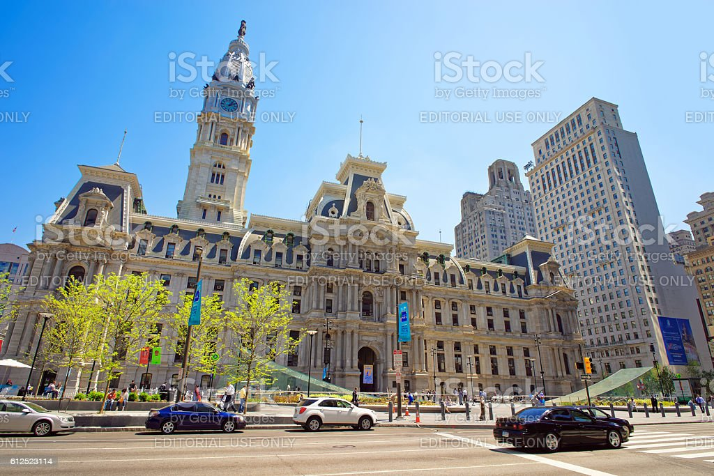 Philadelphia City Hall with William Penn statue on Tower stock photo