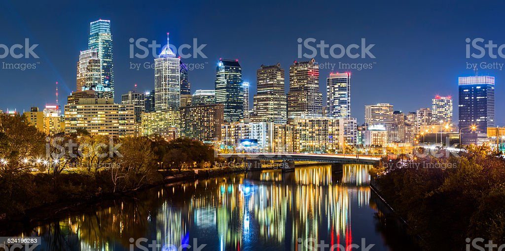 Philadelphia cityscape panorama by night stock photo