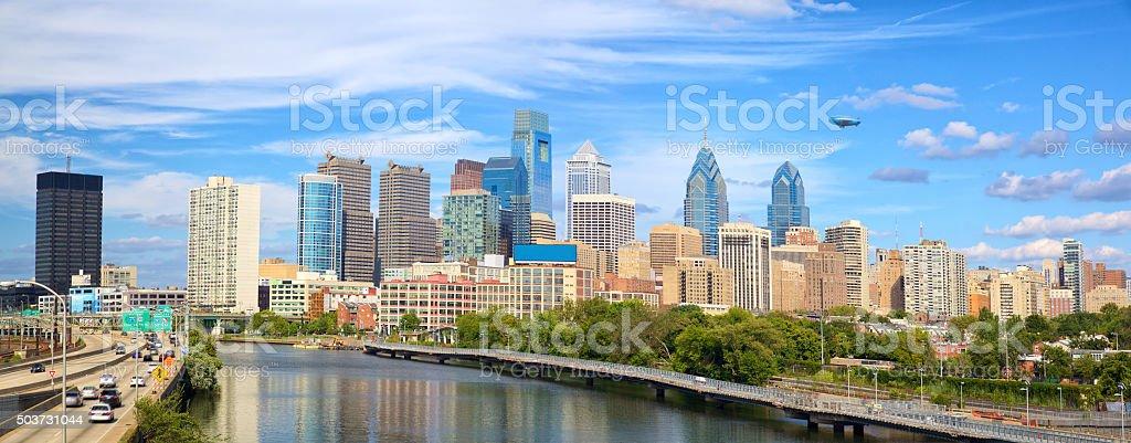 Philadelphia cityscape panorama stock photo