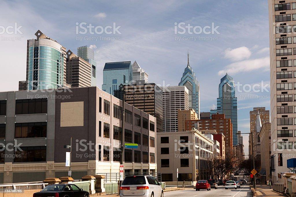 Philadelphia financial district and apartments stock photo