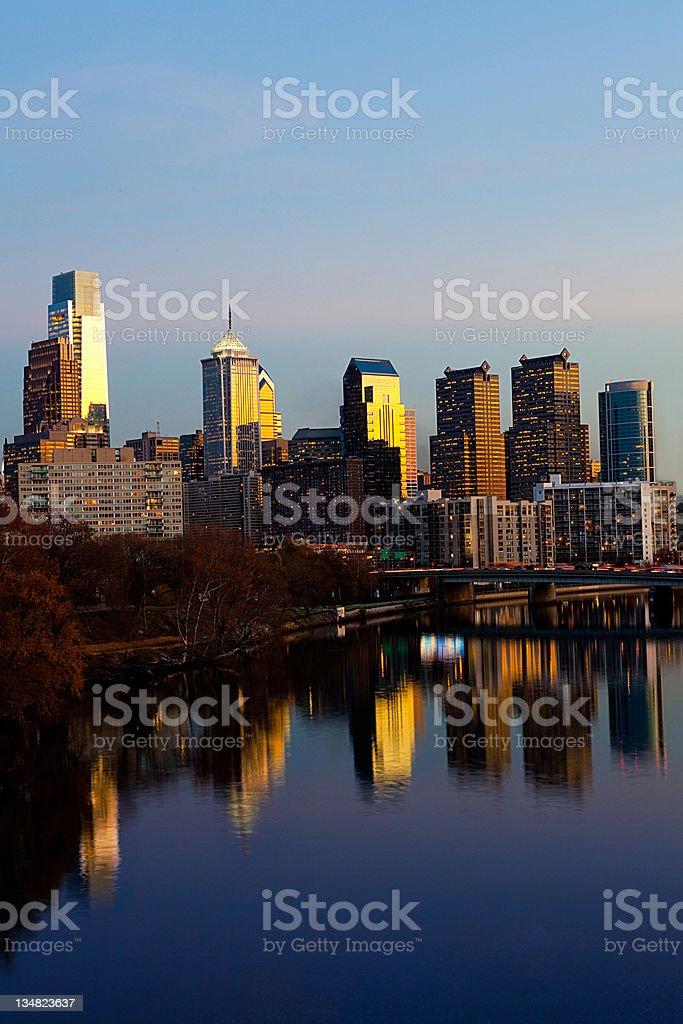 Philadelphia financial district at dusk stock photo