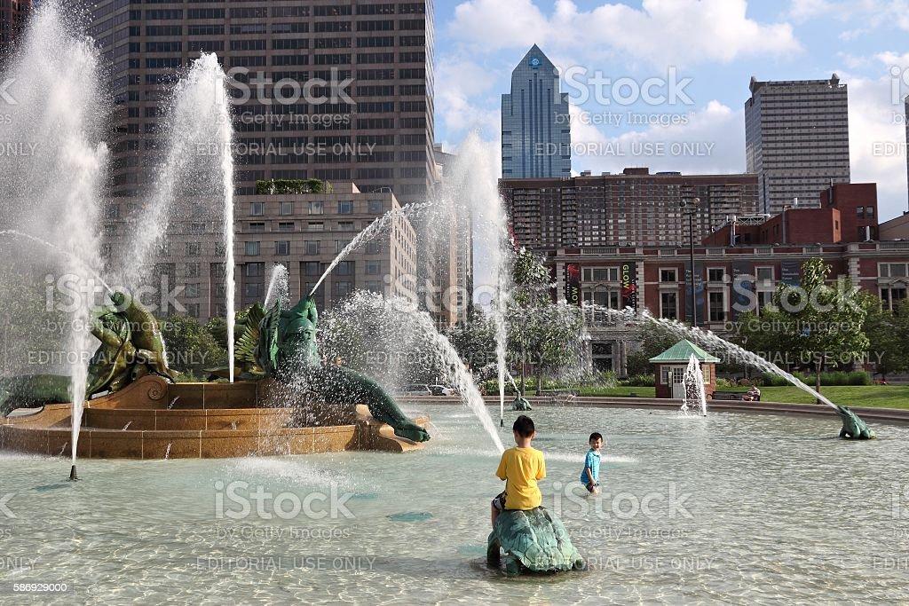 Philadelphia fountain stock photo