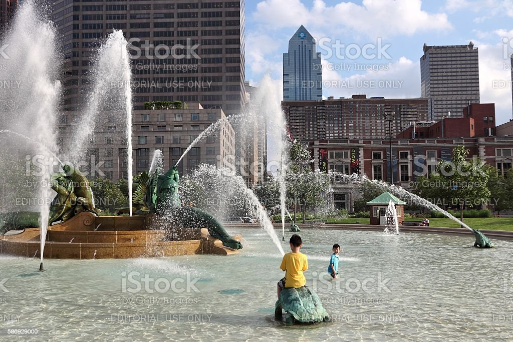 Philadelphia fountain stock photo