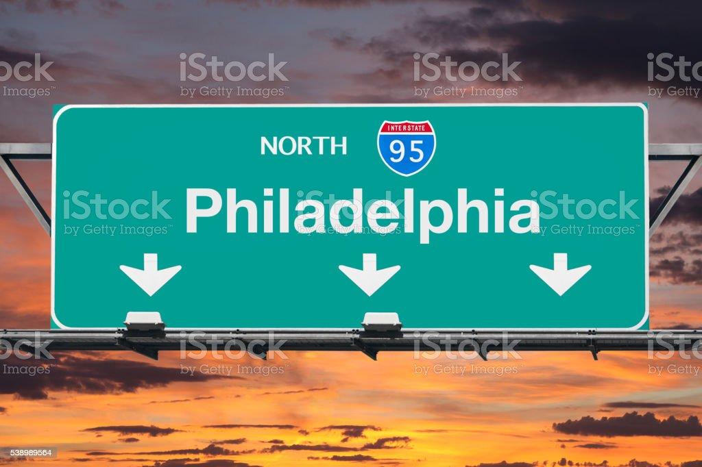 Philadelphia Interstate 95 North Highway Sign with Sunrise stock photo