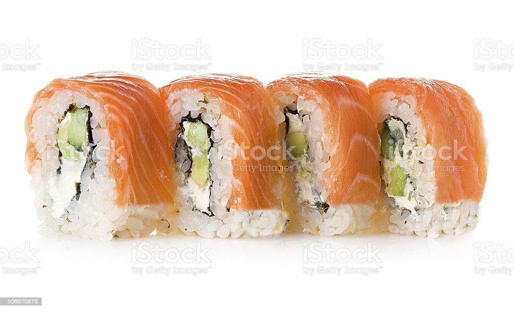 Philadelphia maki sushi isolated on a white background royalty-free stock photo