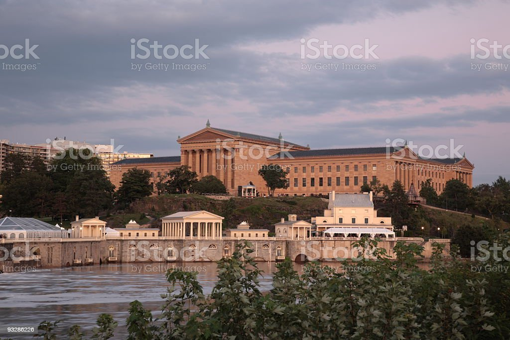 Philadelphia Museum of Art by Schuylkill River stock photo