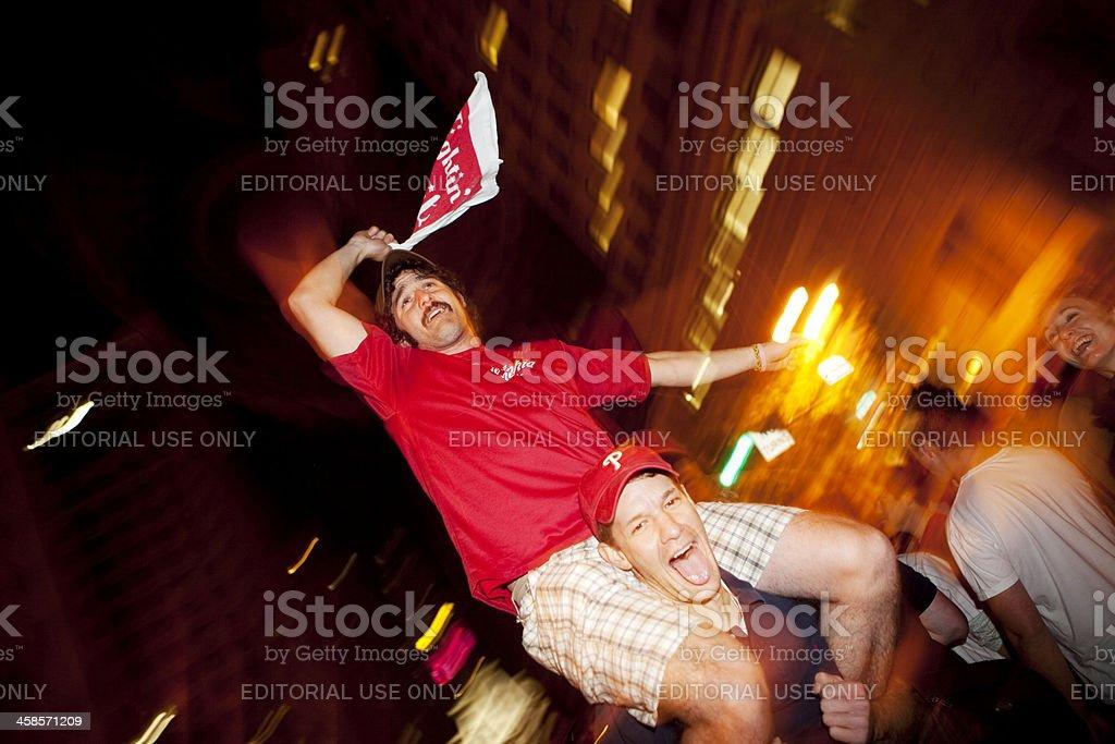 Philadelphia Phillies Fans Celebrating royalty-free stock photo
