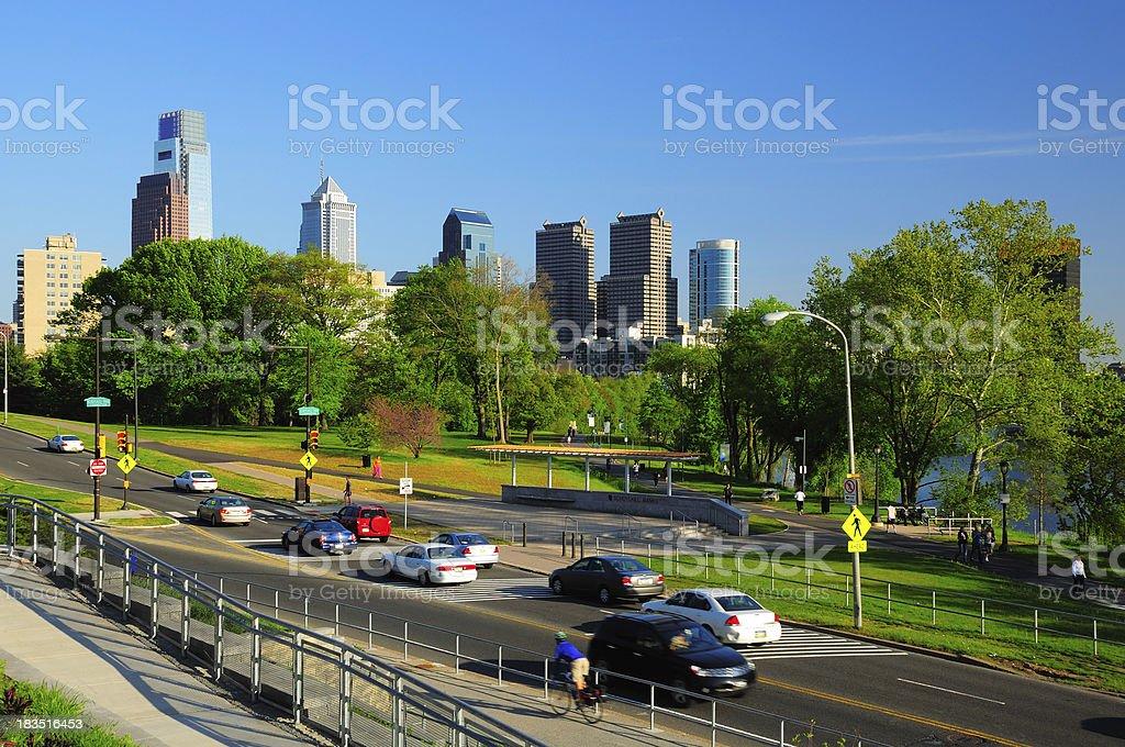 Philadelphia skyline and Fairmount Park stock photo