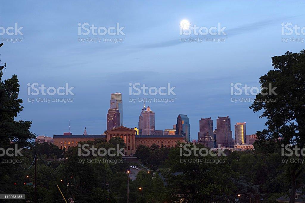 Philadelphia skyline, art museum and waterworks stock photo