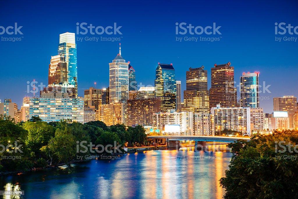 Philadelphia Skyline at dusk over Schuylkill river stock photo