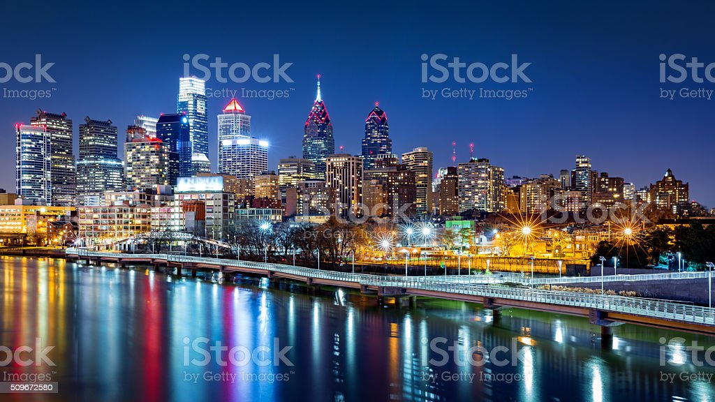 Philadelphia skyline by night stock photo